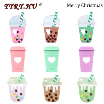 TYRY.HU 1pc Cartoon Teether Coffee Cup Baby Teething Toys For Childen's Goods Christmas Gift BPA Free Food Grade Silicone Rodent