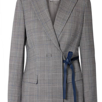 Agnona - Leather-trimmed checked twill blazer