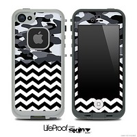 Mixed Snow Camouflage and Chevron Pattern Skin for the iPhone 5 or 4/4s LifeProof Case