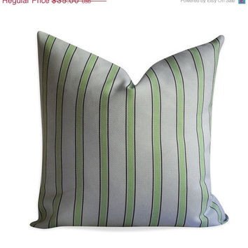 30% OFF SALE Stripe Pillow Cover -  Powder Blue Cream and Brown Pillow - SAME Fabric Both Sides - Invisible Zipper