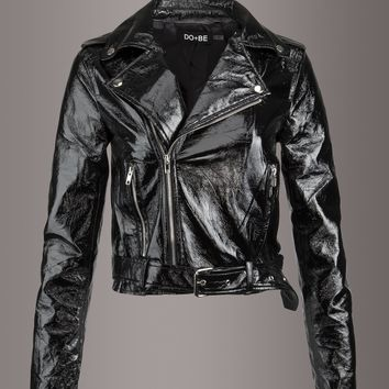 Rapture Black Faux Leather Vinyl Look Moto Jacket