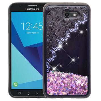 Samsung Galaxy J7 V / J7 (2017) / J7 Perx / J7 Sky Pro / J7 Prime / Galaxy Halo Case Luxury Bling Liquid Glitter Quicksand Cover -  Purple Lace