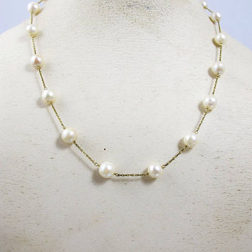 """Pearl 14K YG Tin Cup Necklace, Cultured Pearl Station Necklace, Bridal Wedding Pearl Jewelry, 18"""" 7.8mm"""