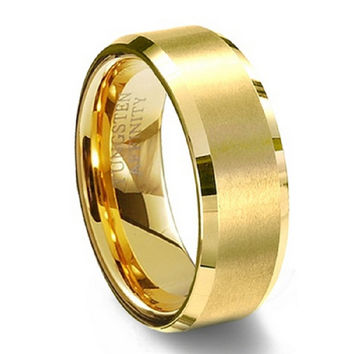 Tungsten Carbide 18k Gold Ring, Ring for Men,Enagement/Wedding Rings,Gold Filled Jewelry Gift,Factory Price,Free Shipping,TU020M