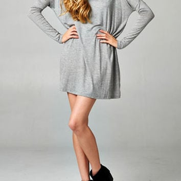Grey Long Sleeve Casual Pocket Dress
