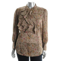 Ralph Lauren Womens Plus Floral Print Silk Blouse