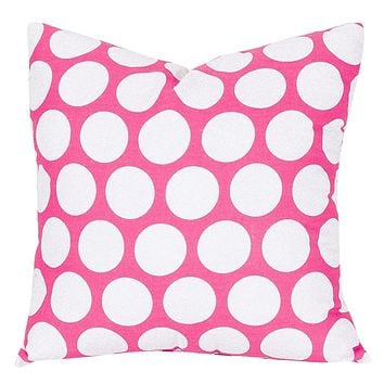 Hot Pink Large Polka Dot Large Pillow