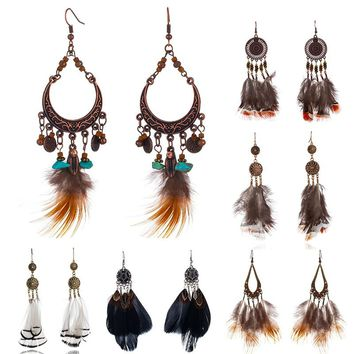 Multiple Bohemian Ethnic Nature Feather Dangle Hanging Drop Earrings for Women 2018 New Trendy Boho Ear Jewelry Accessories