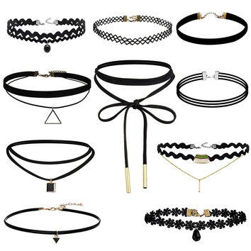 Vintage Chocker Necklace 10Pcs/Lot Stretch Velvet Gothic Lace Choker Maxi Necklace Set +Gift Box