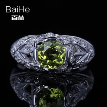 BAIHE Sterling Silver 925 1.3CT Certified Green Flawless Round 100% Genuine Peridot Wedding Women Classic Fine Jewelry Ring