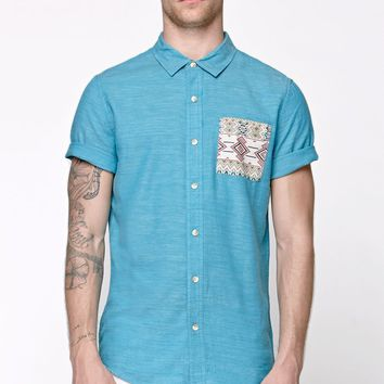 On The Byas Double Pocket Woven Shirt - Mens Shirt - Blue