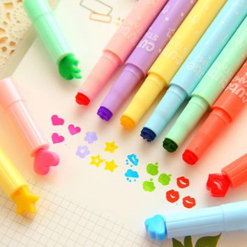 3Pcs Korea style Colored pen fashion Stamp Highlighters watercolor pen marker pen beautiful stationery