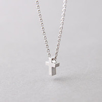 WHITE GOLD SMALL CROSS NECKLACE STERLING SILVER by Kellinsilver.com - Sterling Silver Jewelry Shop as ETSY