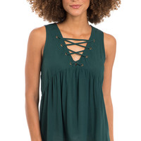 Emerald City Lace Up Tank Top