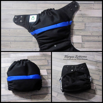 Thin Blue Line OS Pocket Diaper or Diaper Cover / Law Enforcement/ Blue Lives Matter/ Police Officer Remembrance