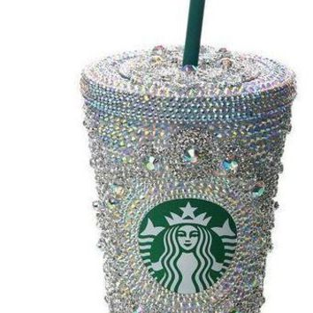 Custom Starbucks Bling AB Gems Rhinestone Cup with Lid 16oz