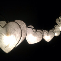 String Lights-20 Heart White Color Paper String  Lights Wedding Party  Home Decor,Indoor String lights,Bedroom String Lights.