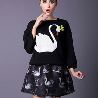 Swan Print Knitted Sweater and Mini A-Line Skirt