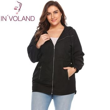 IN'VOLAND Women Jacket Plus Size L-3XL 2018 Spring Autumn Casual Hooded Long Sleeve Outwear Loose Large Rain Coat Oversized