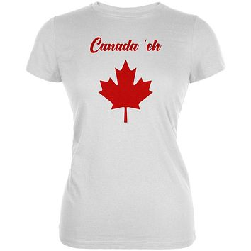 Canada Day 'Eh Pun Red Juniors Soft T Shirt