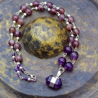 Amethyst Chakra Necklace ~ Hand Wired Necklace ~ Healing Stones ~ Boho Jewellery ~ Bohemian ~ Lavender Stones ~ February Birthstone ~