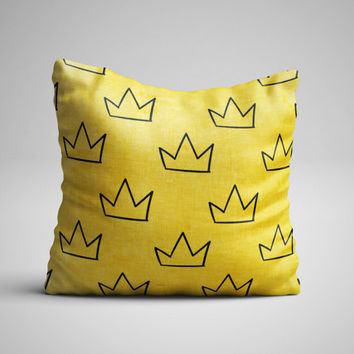 Throw Pillow - Crown Pillow - Yellow Pillow with insert - Seamless Pattern Decorative Pillow - Kids Pillow - Kids Room Decor