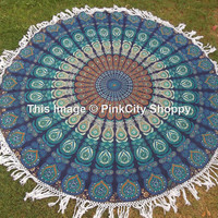 Round Mandala Tassle Fringe Turquish Beach Throw Yoga Mat Table Cover Mandala Cotton Table Cover Kitchen Table Cloth Wall Hanging Tapestry