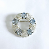 Signed Vintage Corocraft Silver Tone Brooch with Large Clear Baby Blue Rhinestones and Rope Detail