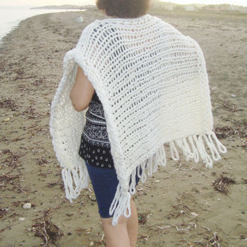 Ivory cream knitted poncho shawl