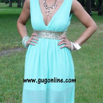 I'm So Glam Mint and Gold Sequin Maxi Dress