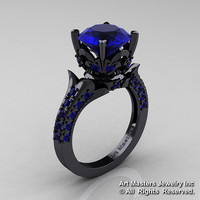 Exclusive French 14K Black Gold 3.0 Ct Blue Sapphire Solitaire Wedding Ring R401-14KBGBS