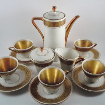 Royal Porzellan Bavaria KM Germany Handarbeit 15 pc.  Demitasse Set Art Deco Gold 24K