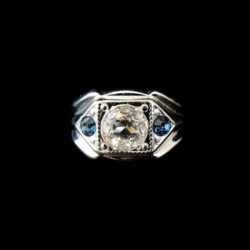 Vintage Men's Faux Diamond Sapphire Ring 14k GE Signed