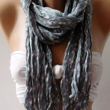 Grey - Elegance - Cotton Shawl  Scarf  Headband  Bandana Pareos