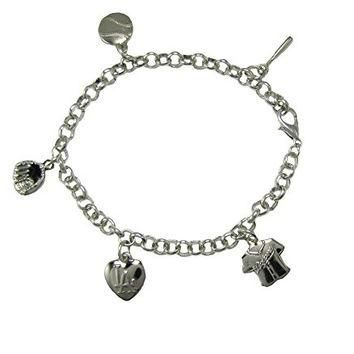 Los Angeles Dodgers 5 Charm Silver Bracelet Girls Womens Jewelry LA Jersey MLB