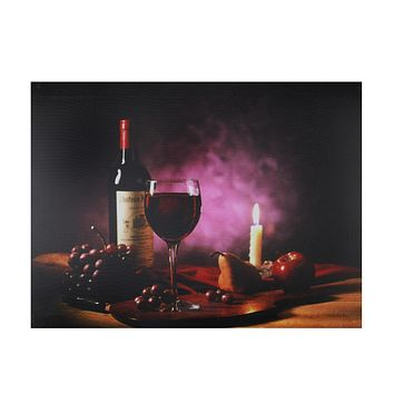 "LED Lighted Flickering Wine  Fruit and Candle Canvas Wall Art 11.75"" x 15.75"""