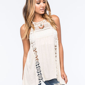 Full Tilt Crochet Bib Womens Hanky Tunic Tank Cream  In Sizes