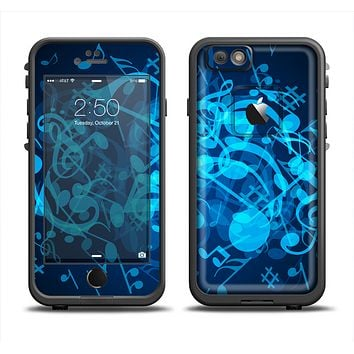 The Glowing Blue Music Notes Apple iPhone 6/6s LifeProof Fre Case Skin Set