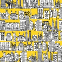 New York yellow Stretched Canvas by Sharon Turner