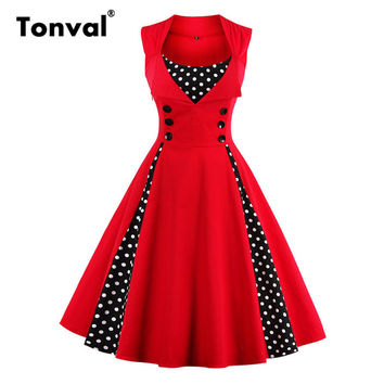 Tonval 2017 Summer Women Polka Dot Sleeveless Dress Vintage Style Dresses Buttons Elegant Red Plus Size 4XL 5XL Swing Dress