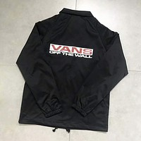 VANS Jacket Winter Fashion Stylish Alphabet Windbreaker Coat Black I-A-XYCL