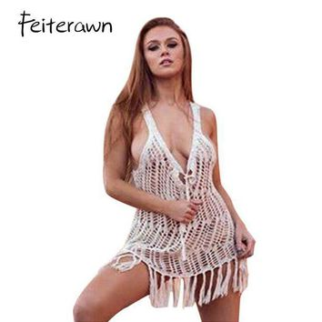 PEAPGC3 Feiterawn 2017 Swimsuit Cover Up Summer Sexy Women Beachwear Crochet Hollow Out Tassel Bikini Bathing Suit Cover Up DY1930