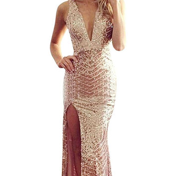 Bandage Sequin V-Neck High Split Maxi Dress