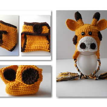 Giraffe Set -  Baby Hat - Diaper Cover - Booties - Set - Handmade Crochet - Gold and Brown - Animal Baby Set - Made to Order