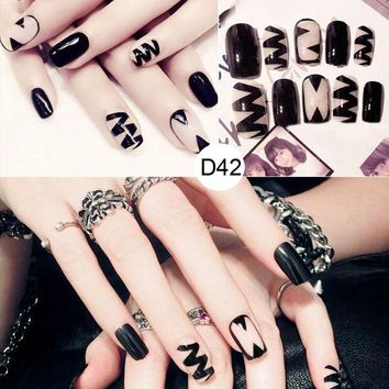 24 Pcs/Set Women Lady 3D Fake Nails With Glue Middle-Long Full Wrapped Tips Bride Artificial False Nail SSwell