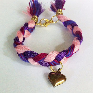 Pink and purple braided friendship bracelet, braided bracelet, heart bracelet, textile bracelet, layering bracelet, stacking bracelets, boho