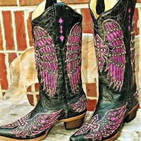 Rocker Chic Black with Pink Corral Wings and Crosses Boot