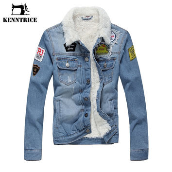 Embroidery Slim Wool Liner Ripped Denim Bomber Jacket Men's White Fleece Coats Male