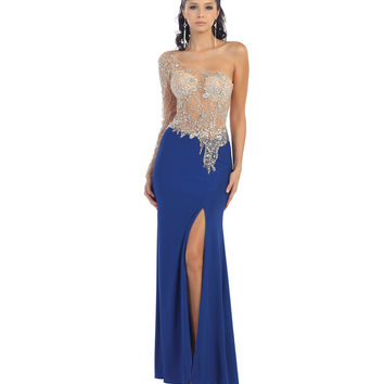 Sexy Sheer Jeweled Blue Dress 2015 Prom Dresses
