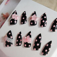 Kawaii 3D Decal Polka Dot Pink and Black Cute Nail Set with Resin Bow Tie